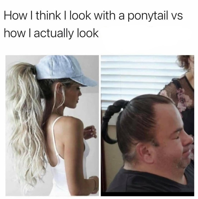 Hairstyle - How I think I look with a ponytail vs how I actually look