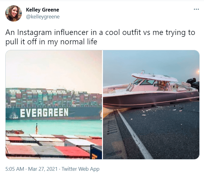 Water - Kelley Greene @kelleygreene ... An Instagram influencer in a cool outfit vs me trying to pull it off in my normal life EVERGREEN 5:05 AM - Mar 27, 2021 · Twitter Web App