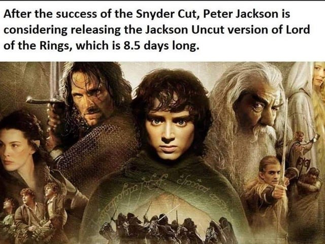 Art - After the success of the Snyder Cut, Peter Jackson is considering releasing the Jackson Uncut version of Lord of the Rings, which is 8.5 days long.
