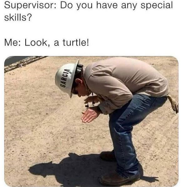 Jeans - Supervisor: Do you have any special skills? Me: Look, a turtle!