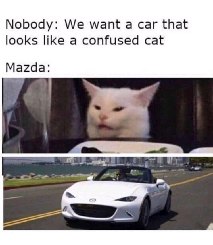 Tire - Nobody: We want a car that looks like a confused cat Mazda: