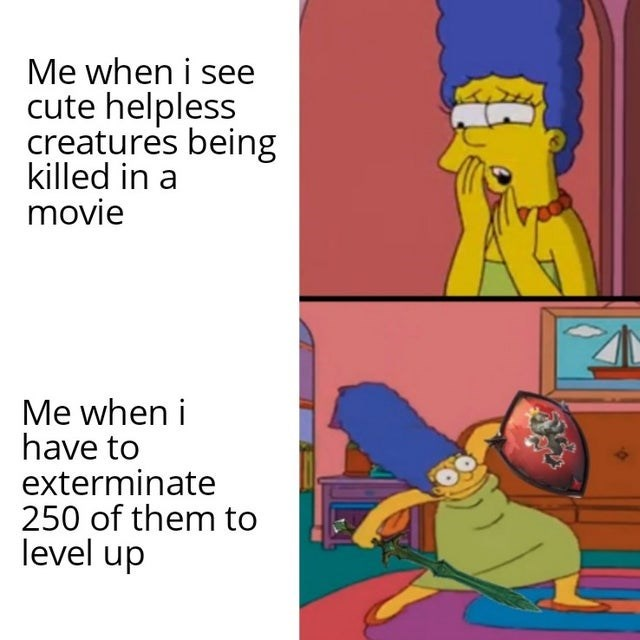 Funny meme about being upset when animals are hurt in tv but happy to kill animals in a game, gaming meme, the simpsons, marge simpson
