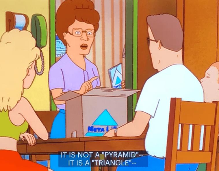 "Cartoon - MITA IT IS NOT A ""PYRAMID""- IT IS A ""TRIANGLE""--"
