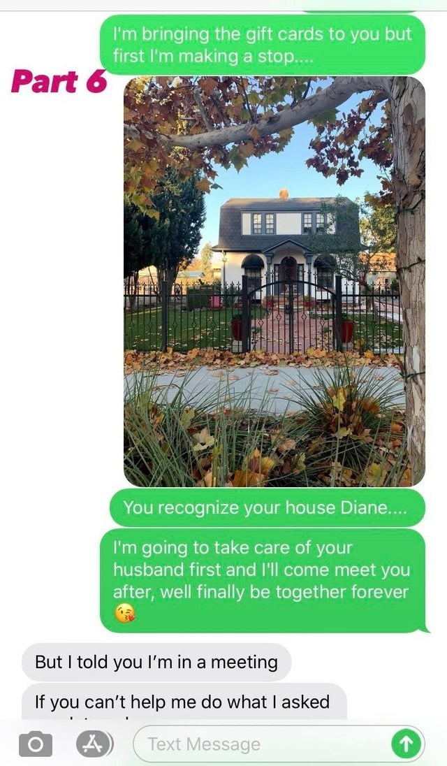 Plant - I'm bringing the gift cards to you but first l'm making a stop.. Part 6 You recognize your house Diane... I'm going to take care of your husband first and I'll come meet you after, well finally be together forever But I told you l'm in a meeting If you can't help me do what I asked Text Message