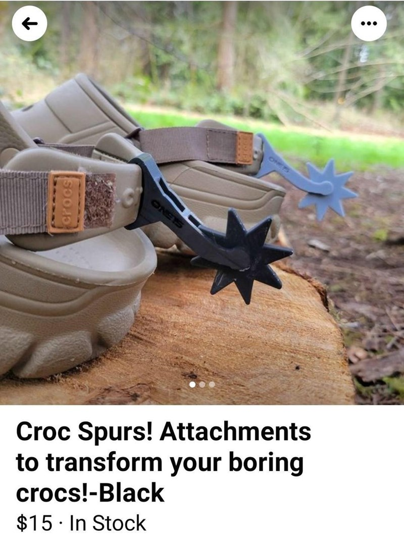 Wood - 1NETS 2NETS Croc Spurs! Attachments to transform your boring crocs!-Black $15 · In Stock crocs