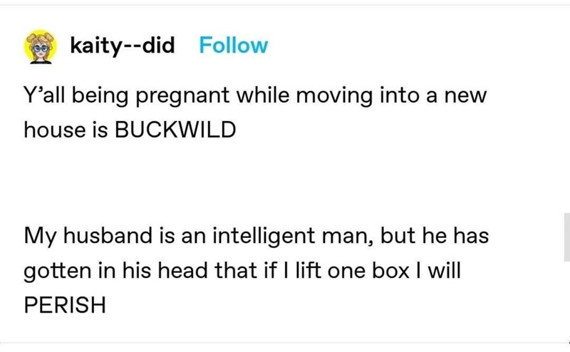Font - kaity--did Follow Y'all being pregnant while moving into a new house is BUCKWILD My husband is an intelligent man, but he has gotten in his head that if I lift one box I will PERISH