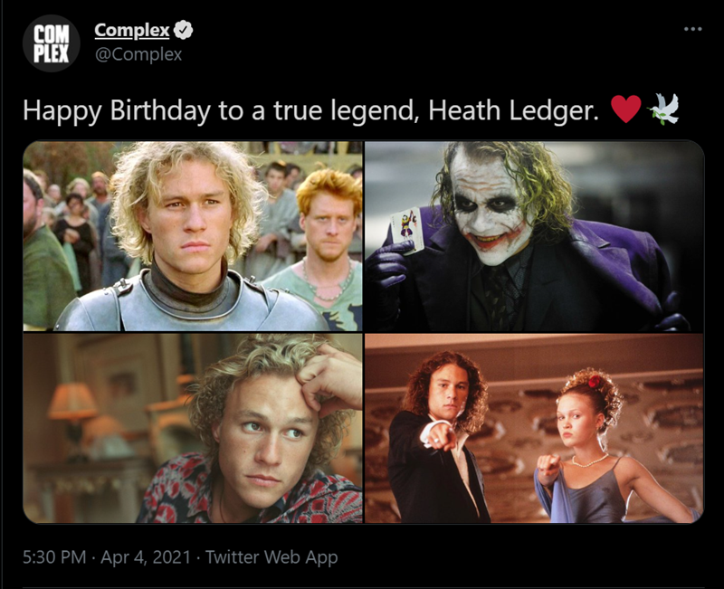 Outerwear - COM Complex PLEX @Complex Happy Birthday to a true legend, Heath Ledger. 5:30 PM · Apr 4, 2021 · Twitter Web App