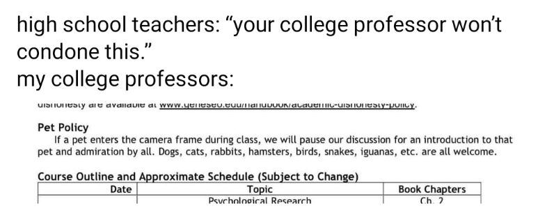 "Font - high school teachers: ""your college professor won't condone this."" my college professors: uISIIUIesty aie avallavie ai www.yenesev.euumanuvUUNacauelmy-UISIUNESTY-policy. Pet Policy If a pet enters the camera frame during class, we will pause our discussion for an introduction to that pet and admiration by all. Dogs, cats, rabbits, hamsters, birds, snakes, iguanas, etc. are all welcome. Course Outline and Approximate Schedule (Subject to Change) Book Chapters Ch. 2 Date Topic Psvchological"