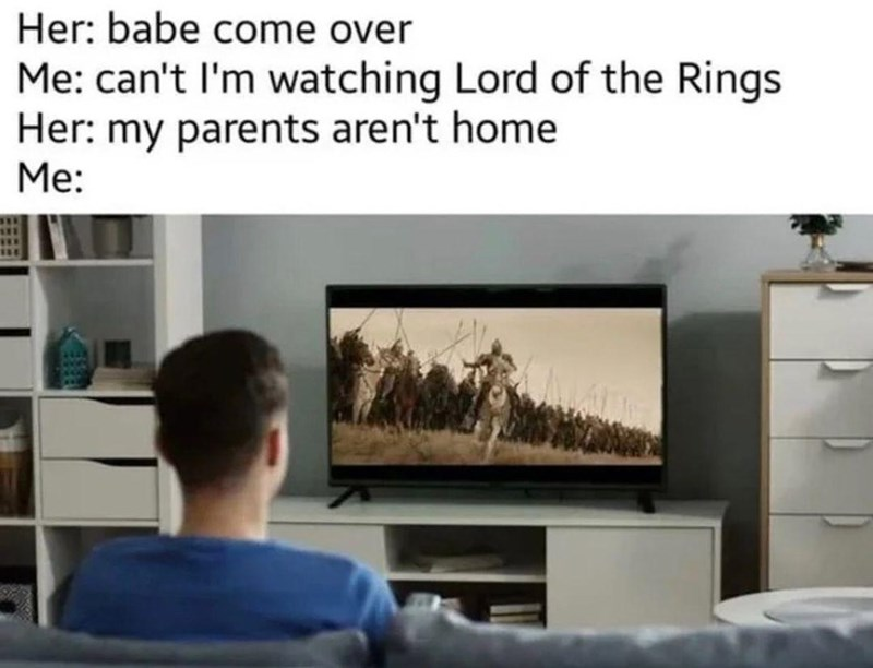 Furniture - Her: babe come over Me: can't l'm watching Lord of the Rings Her: my parents aren't home Me: