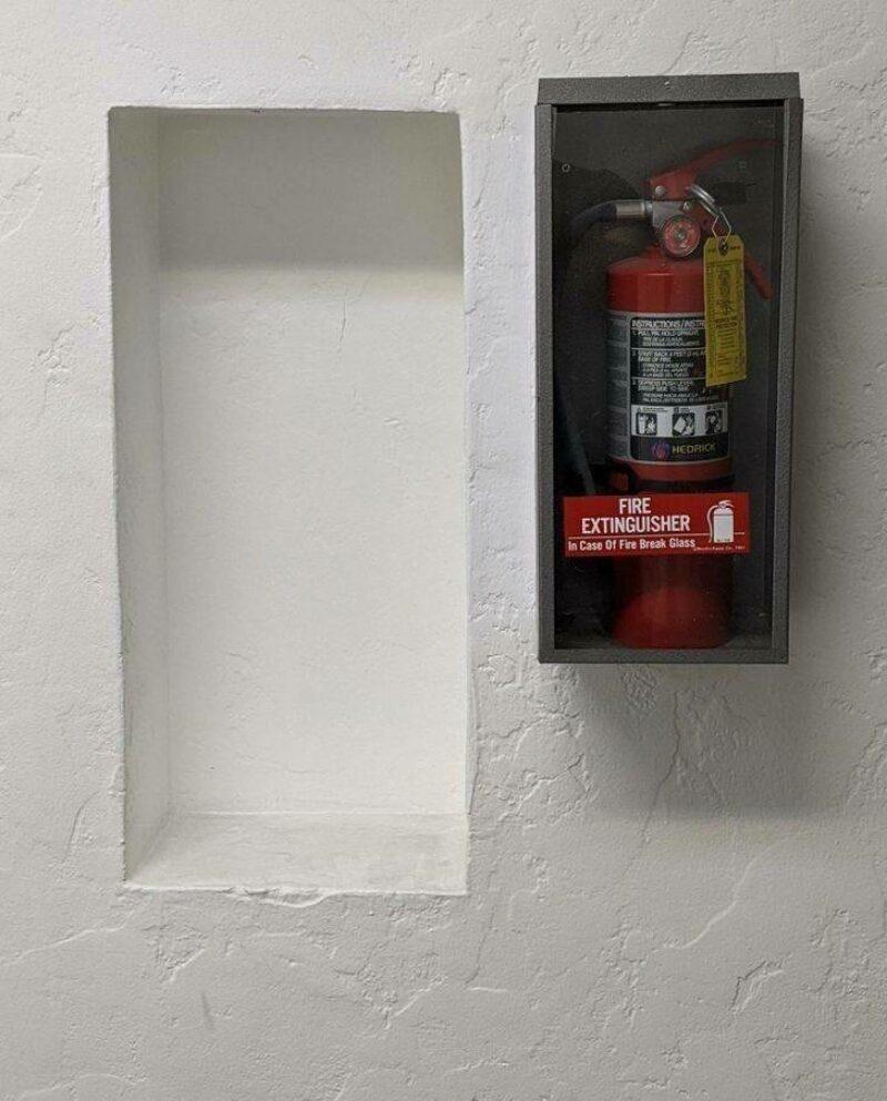 Rectangle - HEDRICK FIRE EXTINGUISHER in Case Of Fire Break Glass