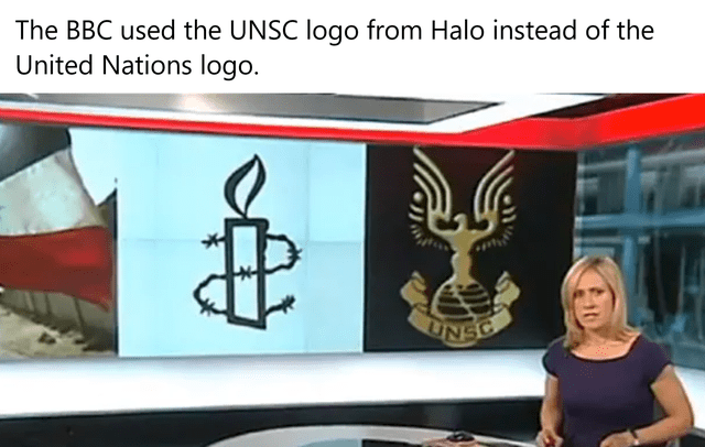 Hood - The BBC used the UNSC logo from Halo instead of the United Nations logo. UNSC