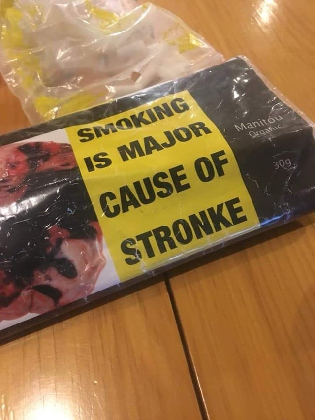 Yellow - SMOKING IS MAJOR Manitou Organic CAUSE OF 30g STRONKE
