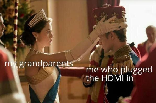 Sleeve - my grandparents me who plugged the HDMI in