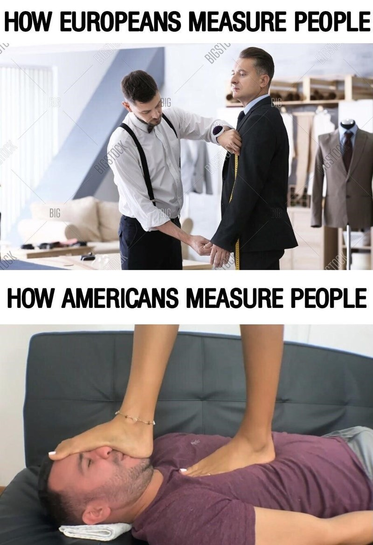 Joint - HOW EUROPEANS MEASURE PEOPLE BIDS BIGST BIG BIG OCK HOW AMERICANS MEASURE PEOPLE BIGSTOCK OSTOR