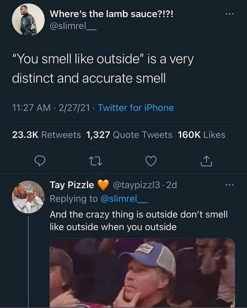 """World - Where's the lamb sauce?!?! @slimrel_ """"You smell like outside"""" is a very distinct and accurate smell 11:27 AM · 2/27/21 · Twitter for iPhone 23.3K Retweets 1,327 Quote Tweets 16OK Likes Tay Pizzle Replying to @slimrel__ @taypizzl3 · 2d ... And the crazy thing is outside don't smell like outside when you outside"""