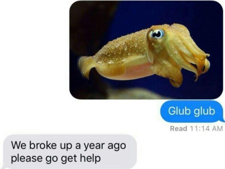 Jaw - Glub glub Read 11:14 AM We broke up a year ago please go get help