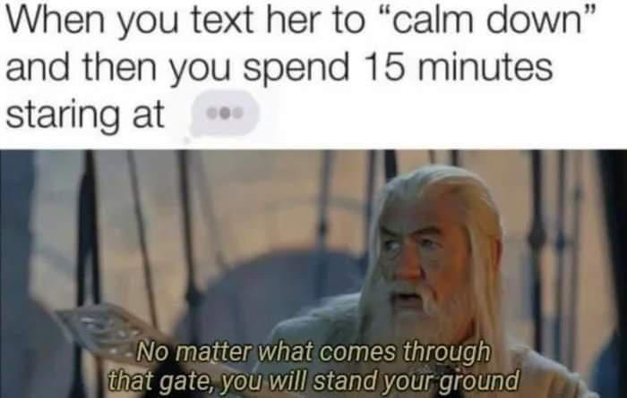 """Jaw - When you text her to """"calm down"""" and then you spend 15 minutes staring at No matter what comes through that gate, you will stand your ground"""