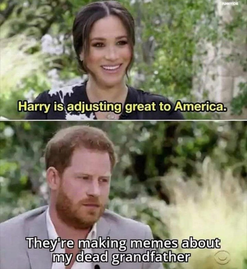 Funny meme about how people are making memes about prince philip, meghan markle, prince harry