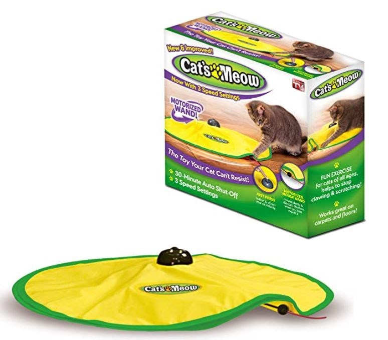 Vertebrate - Calszinoow MewBlmproved! Cats Meow Now With 3 Speed Settings CatsMeow MOTORIZED WANDI The Toy Your Cat Can't Resist! 30-Minute Auto Shut-Off 3 Speed Settings FUN EXERCISE for cats of all ages, clawing & scratching! WOUSE WAND Nov s Works great on carpets and floors! CatsMeow