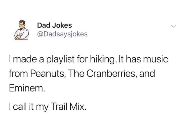 Font - Dad Jokes @Dadsaysjokes I made a playlist for hiking. It has music from Peanuts, The Cranberries, and Eminem. I call it my Trail Mix.