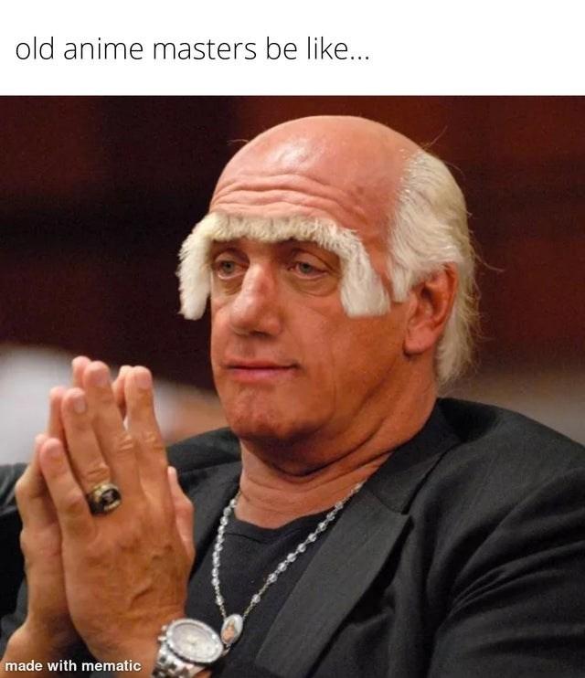 Funny meme about anime masters, photoshop, hulk hogan