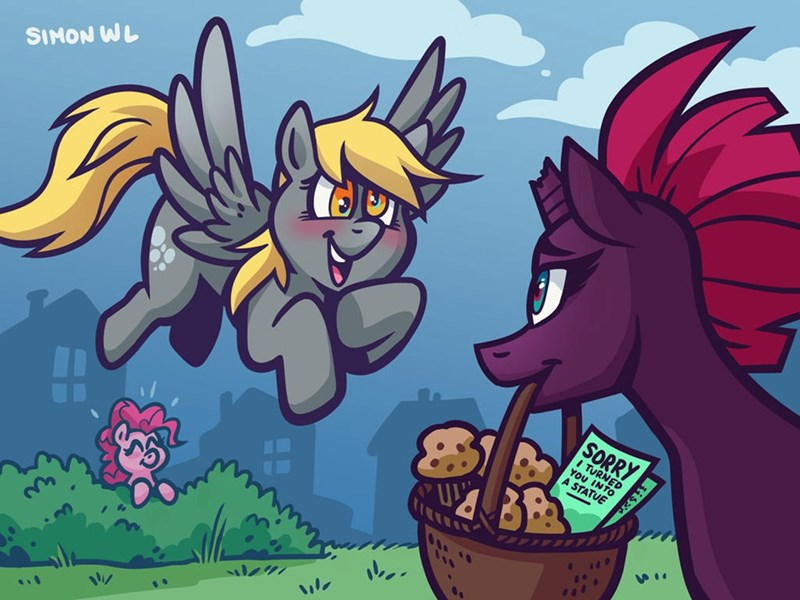 simondrawsstuff tempest shadow my little pony the movie derpy hooves pinkie pie - 9606525952