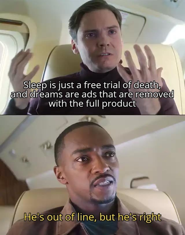 Funny meme from the falcon and the winter soldier about how sleep is just a free trial of death and dreams are advertisments, disney+ marvel memes