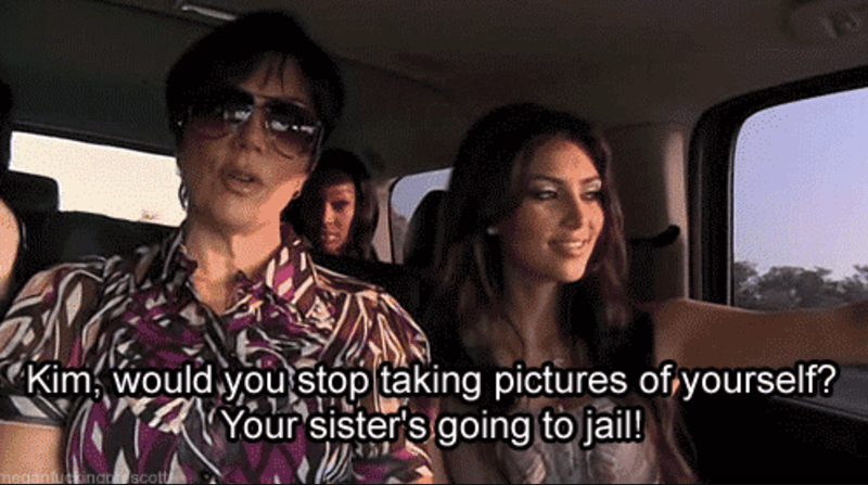 Glasses - Kim, would you stop taking pictures of yourself? Your sister's going to jail! uttingn