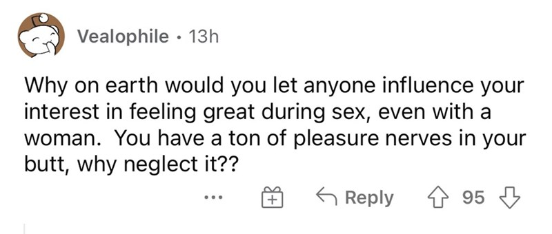 Font - Vealophile · 13h Why on earth would you let anyone influence your interest in feeling great during sex, even with a woman. You have a ton of pleasure nerves in your butt, why neglect it?? G Reply 4 95 3 ...