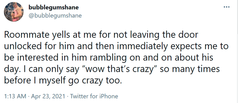 """Font - bubblegumshane @bubblegumshane Roommate yells at me for not leaving the door unlocked for him and then immediately expects me to be interested in him rambling on and on about his day. I can only say """"wow that's crazy"""" so many times before I myself go crazy too. 1:13 AM · Apr 23, 2021 · Twitter for iPhone"""