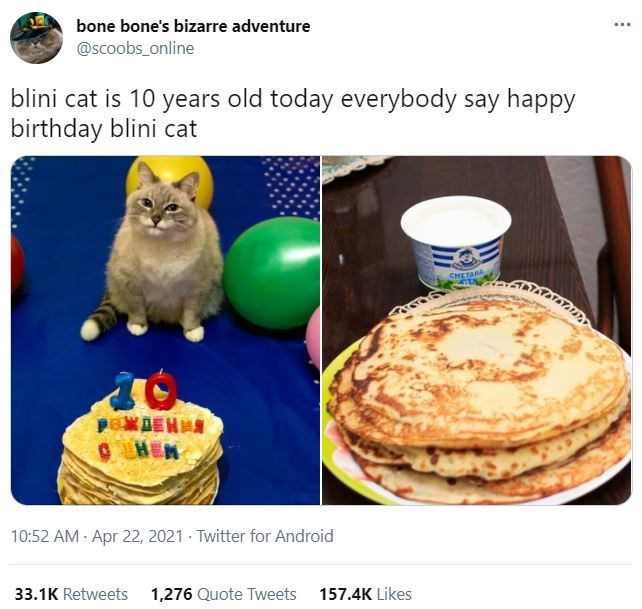 Tableware - ... bone bone's bizarre adventure @scoobs_online blini cat is 10 years old today everybody say happy birthday blini cat CHETANA TATATATA OHEN 10:52 AM - Apr 22, 2021 - Twitter for Android 33.1K Retweets 1,276 Quote Tweets 157.4K Likes