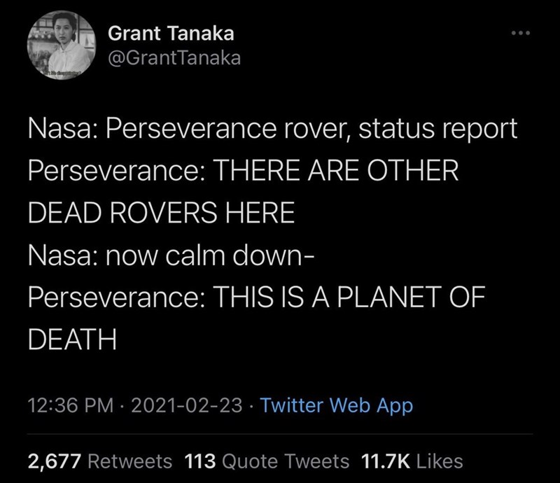 Font - Grant Tanaka @GrantTanaka Nasa: Perseverance rover, status report Perseverance: THERE ARE OTHER DEAD ROVERS HERE Nasa: now calm down- Perseverance: THIS IS A PLANET OF DEATH 12:36 PM · 2021-02-23 · Twitter Web App 2,677 Retweets 113 Quote Tweets 11.7K Likes