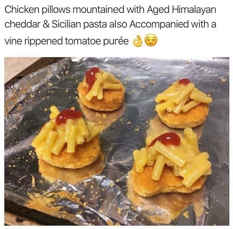 Food - Chicken pillows mountained with Aged Himalayan cheddar & Sicilian pasta also Accompanied with a vine rippened tomatoe purée