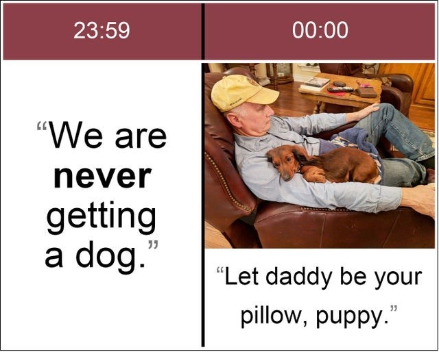 """Product - 23:59 00:00 """"We are never getting a dog."""" """"Let daddy be your pillow, puppy."""""""