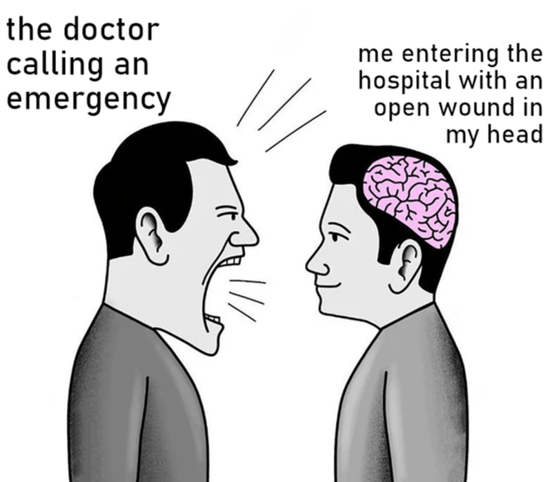 Forehead - the doctor calling an me entering the hospital with an emergency open wound in my head