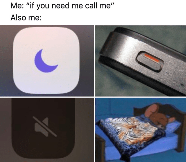 Funny meme about how people say they'll always be available but then they put their phone on silent