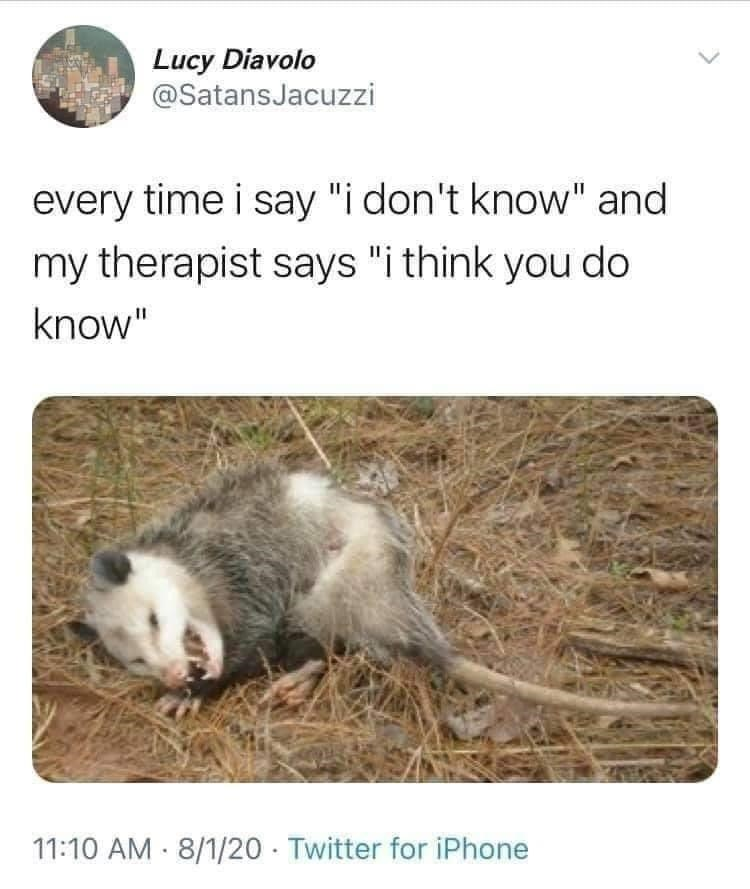 """Organism - Lucy Diavolo @SatansJacuzzi every time i say """"i don't know"""" and my therapist says """"i think you do know"""" 11:10 AM 8/1/20 · Twitter for iPhone"""