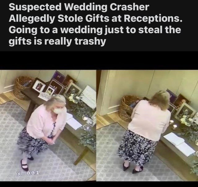 Shoe - Suspected Wedding Crasher Allegedly Stole Gifts at Receptions. Going to a wedding just to steal the gifts is really trashy X 001