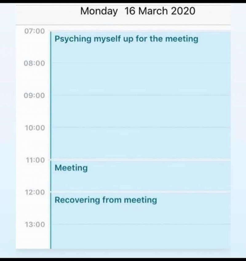 Azure - Monday 16 March 2020 07:00 Psyching myself up for the meeting 08:00 09:00 10:00 11:00 Meeting 12:00 Recovering from meeting 13:00