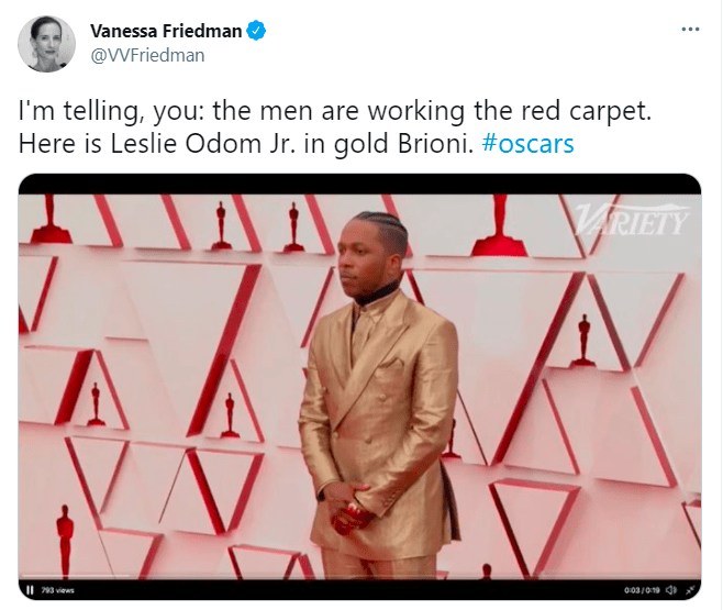 Shirt - Vanessa Friedman @VVFriedman I'm telling, you: the men are working the red carpet. Here is Leslie Odom Jr. in gold Brioni. #oscars VARIETY II 793 views 003/019 d
