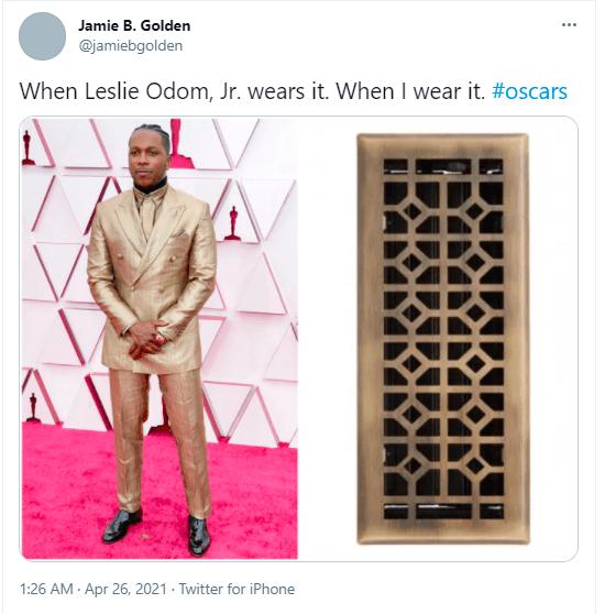 Product - Jamie B. Golden @jamiebgolden When Leslie Odom, Jr. wears it. When I wear it. #oscars 1:26 AM - Apr 26, 2021 · Twitter for iPhone