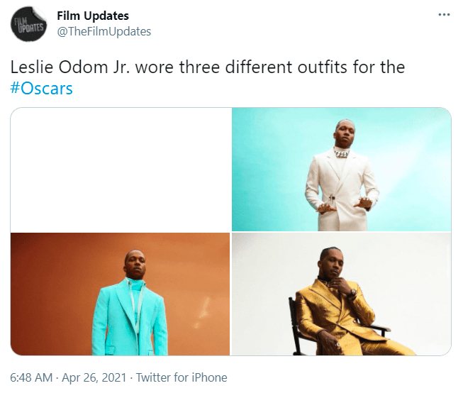 Clothing - Film Updates @TheFilmUpdates ... FILM UPDATES Leslie Odom Jr. wore three different outfits for the #Oscars 6:48 AM - Apr 26, 2021 - Twitter for iPhone