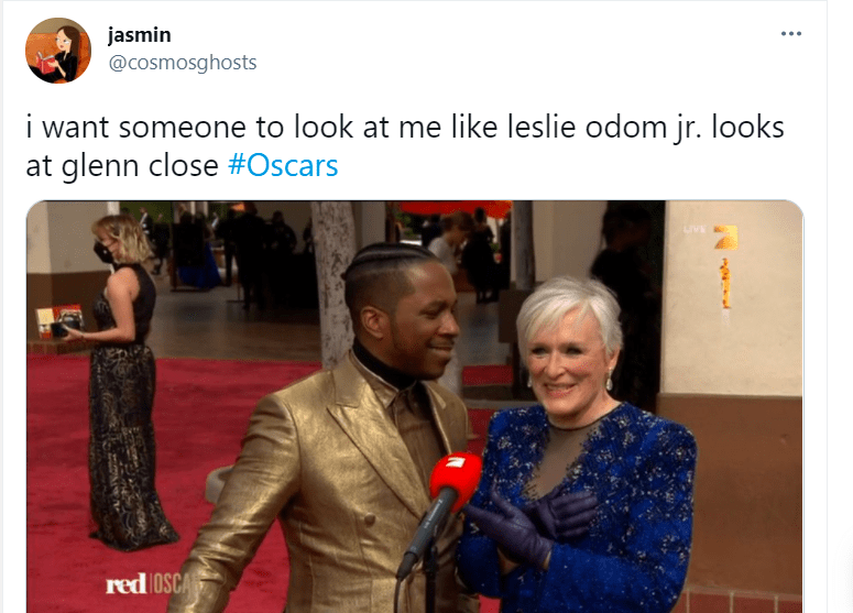 Outerwear - jasmin @cosmosghosts i want someone to look at me like leslie odom jr. looks at glenn close #Oscars red OSCA