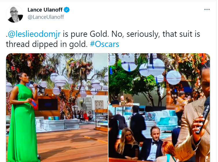 Plant - Lance Ulanoff ... @LanceUlanoff .@leslieodomjr is pure Gold. No, seriously, that suit is thread dipped in gold. #Oscars
