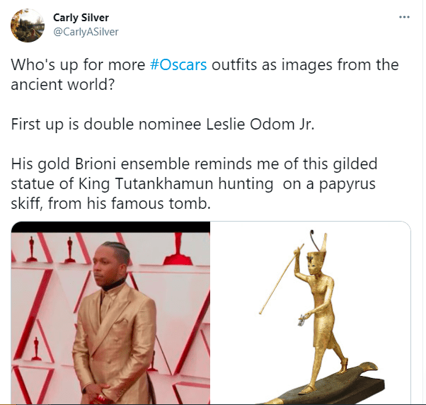 Joint - Carly Silver @CarlyASilver Who's up for more #Oscars outfits as images from the ancient world? First up is double nominee Leslie Odom Jr. His gold Brioni ensemble reminds me of this gilded statue of King Tutankhamun hunting on a papyrus skiff, from his famous tomb.