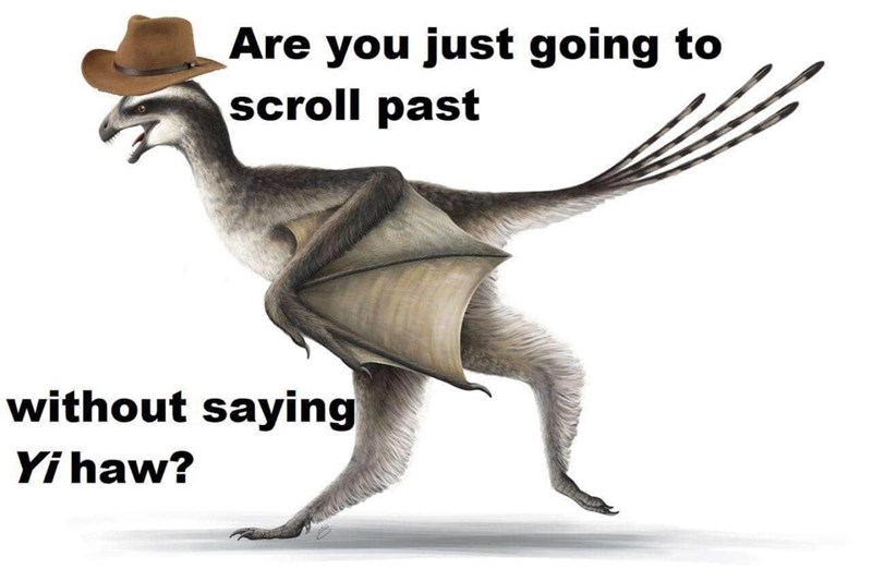 Dinosaur - Are you just going to scroll past without saying Yi haw?