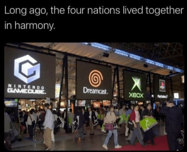 Funny meme about gaming platforms coexisting in the past, harmony, avatar