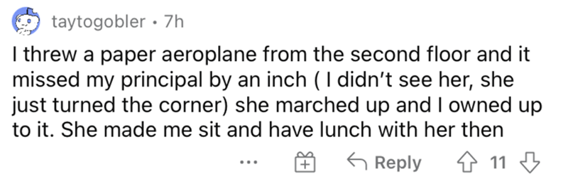 Rectangle - taytogobler · 7h I threw a paper aeroplane from the second floor and it missed my principal by an inch (I didn't see her, she just turned the corner) she marched up and I owned up to it. She made me sit and have lunch with her then G Reply 4 11 3 ...