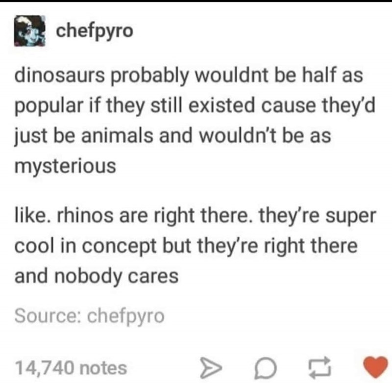 Font - chefpyro dinosaurs probably wouldnt be half as popular if they still existed cause they'd just be animals and wouldn't be as mysterious like. rhinos are right there. they're super cool in concept but they're right there and nobody cares Source: chefpyro 14,740 notes