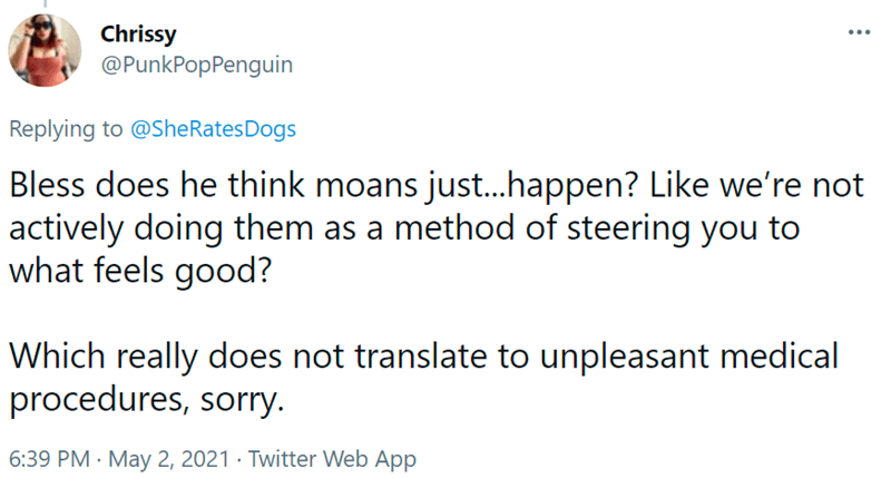 Font - Chrissy @PunkPopPenguin ... Replying to @SheRatesDogs Bless does he think moans just..happen? Like we're not actively doing them as a method of steering you to what feels good? Which really does not translate to unpleasant medical procedures, sorry. 6:39 PM · May 2, 2021 · Twitter Web App